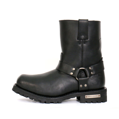 Hot Leathers BTM1004 Men's Black 8-inch Short Harness Leather Boots