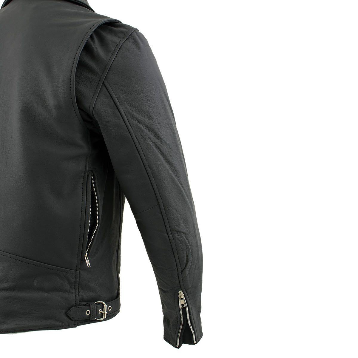 Xelement BXU10580 Men's 'Reaper' Matte Black Leather Moto Jacket