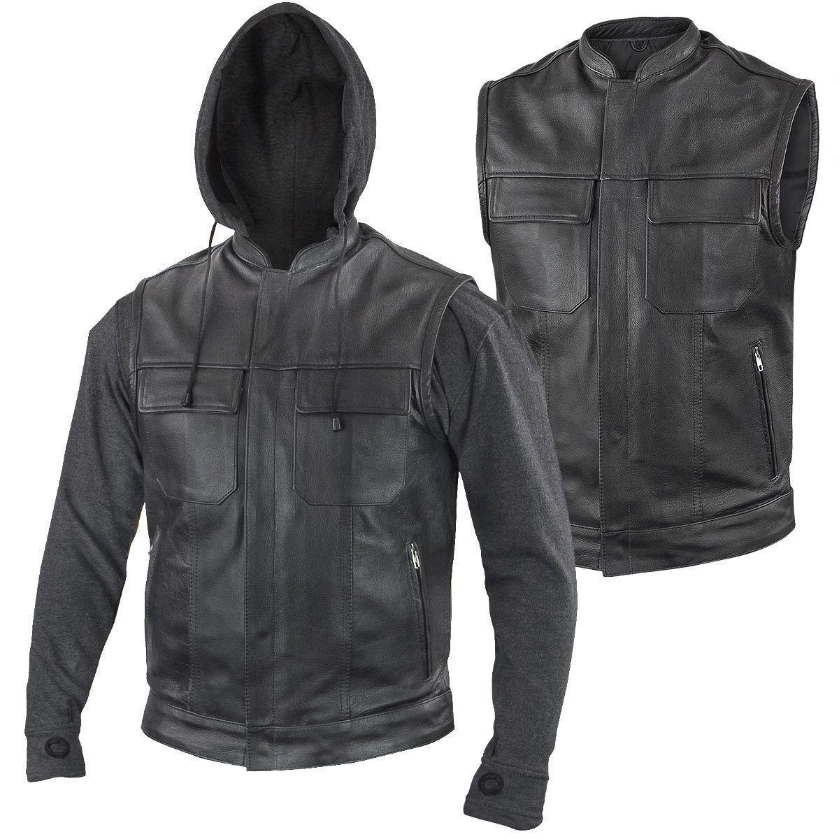 Xelement BXU1006 'Jax' Men's Black Leather Motorcycle Hoodie Jacket