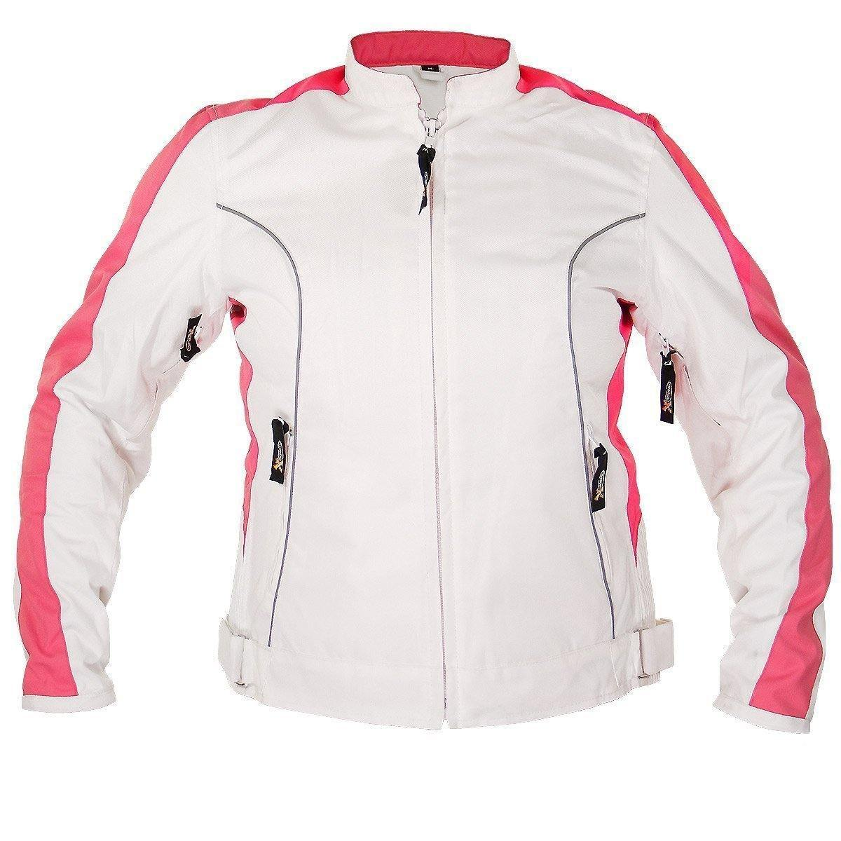 Xelement BXU358924 'Tribal Heart' Women's White and Pink Tri-Tex Motorcycle Jacket