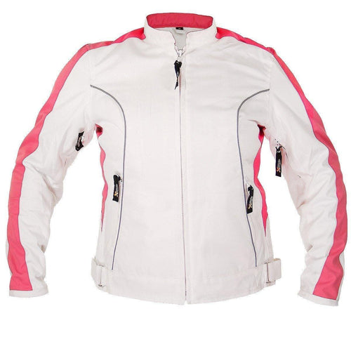 Xelement BXU358924 Ladies 'Tribal Heart' White and Pink Tri-Tex Motorcycle Jacket