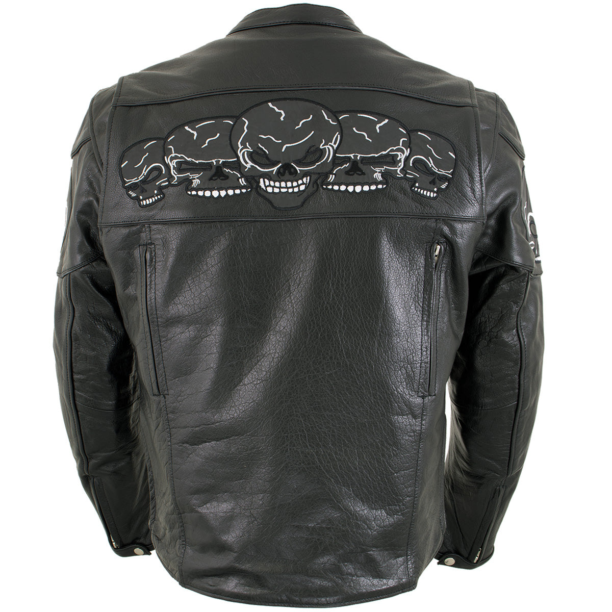 Xelement BXU6050 Men's '3 Skull Head' Black Leather Motorcycle Jacket