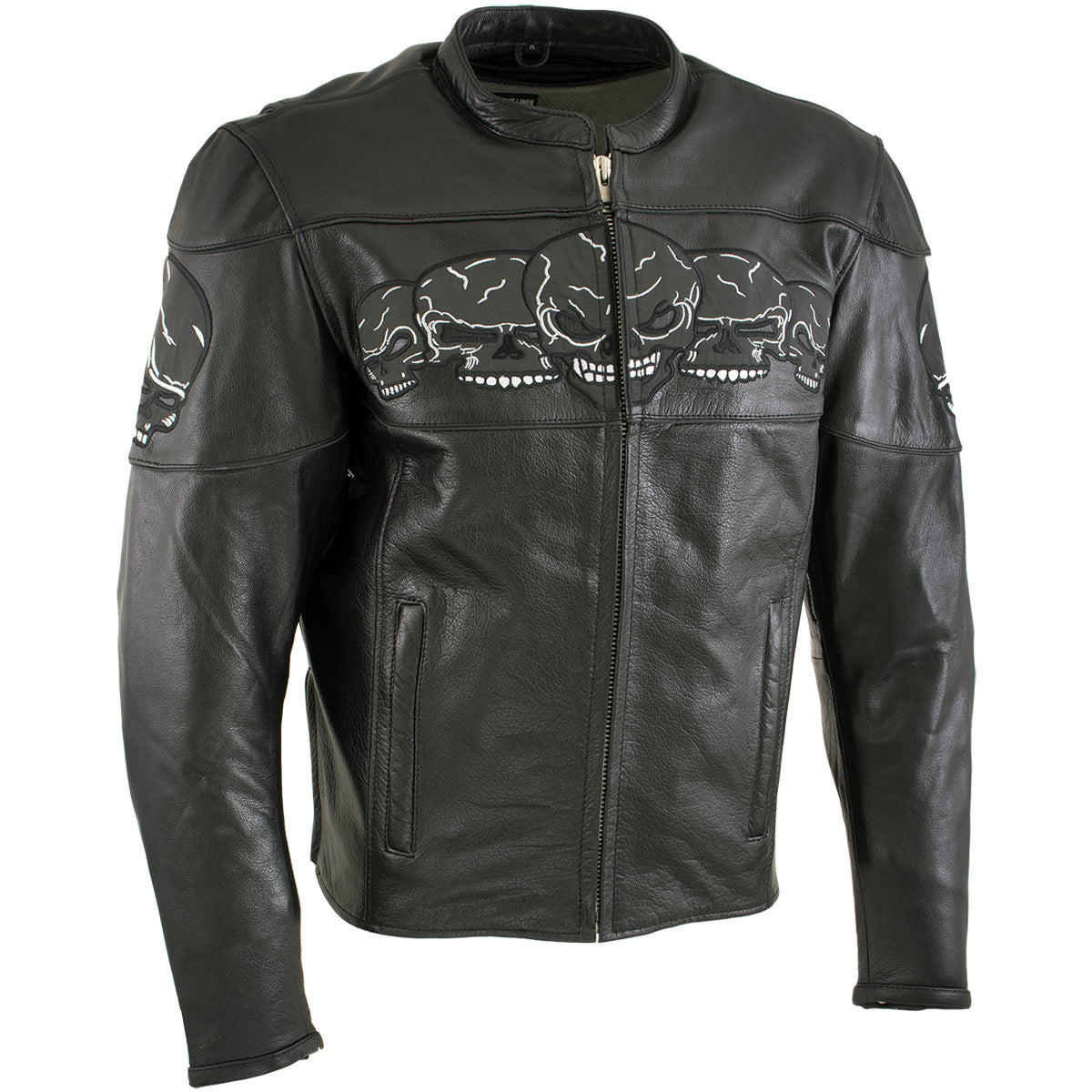 Xelement '3 Skull Head' BXU6050 Men's Black Leather Motorcycle Jacket