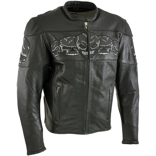 Xelement BXU6050 Men's '3 Skull Head' Black Leather Motorcycle Jacket with X-Armor Protection