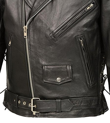 Men's Premium Buffalo Leather Motorcycle Jacket with Concealed Carry