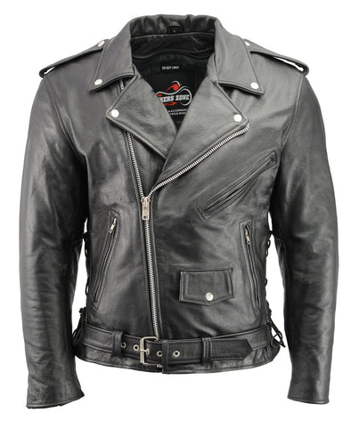 Men's Premium Buffalo Leather Motorcycle Jacket with CE Certified Armor and Dual Concealed Gun Pockets BZ1512