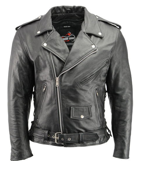 Men's Premium Buffalo Leather Motorcycle Jacket with CE Certified Armor Protection BZ1512