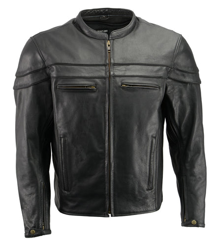 Men's Premium Leather Crossover Vented Scooter Jacket with Removable CE Armor and Concealed Gun Pockets BZ2525