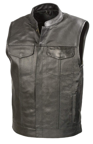 SOA Men's Leather Club Style Vest with Gun Pocket BZ6210
