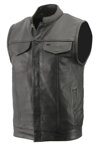 Men's Premium Naked Cowhide Leather Club Style Vest with Concealed Gun Pocket BZ6410