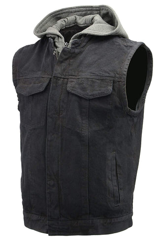 Men's Denim Rustic and Casual Black Jean Club Style Vest with Removable Hoodie BZ7200
