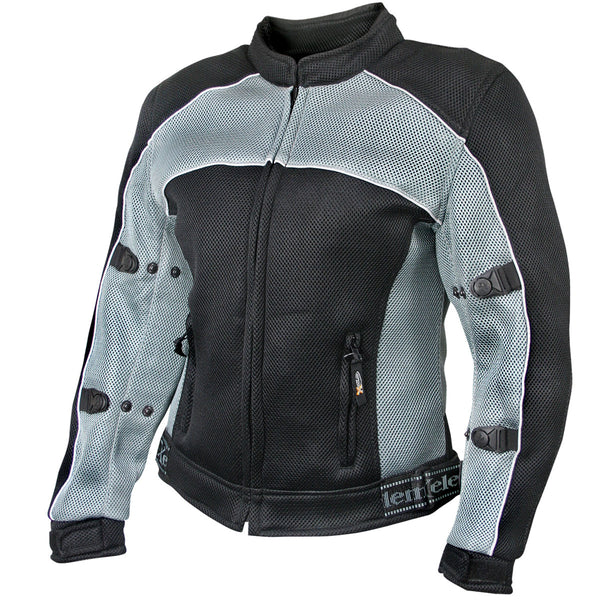 Xelement CF507 Women's 'Guardian' Black and Grey Mesh Jacket with X-Armor Protection