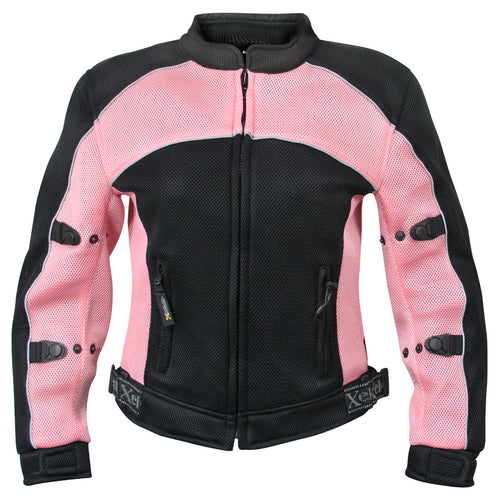 Xelement CF508 Women's 'Guardian' Black and Pink Mesh Jacket with X-Armor Protection