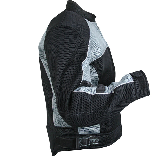 Xelement CF511 Men's 'Guardian' Black and Silver Mesh Sports Jacket with X-Armor Protection