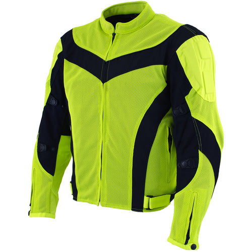 Xelement CF-6019-66 Men's 'Invasion' Neon Green Textile Armored Motorcycle Jacket