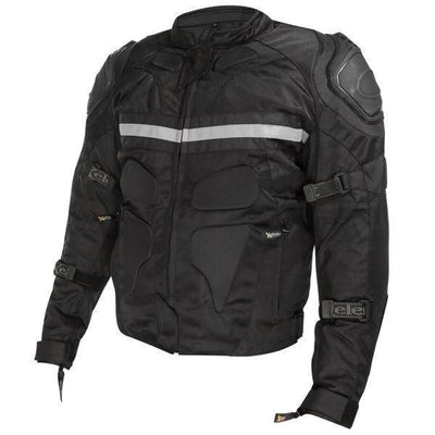Xelement CF751 'Roll Out' Men's Black Tri-Tex Motorcycle Jacket with