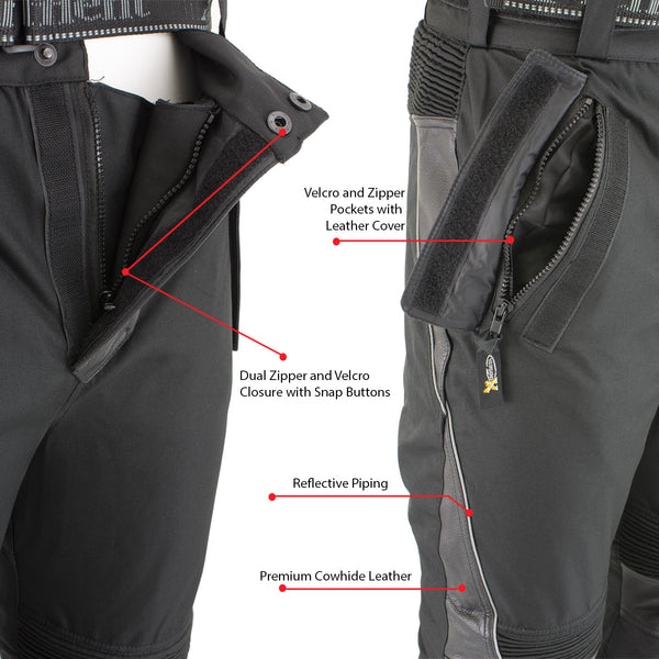 Xelement CF2131 Men's 'Road Racer' Black Tri-Tex and Leather Motorcycle Racing Pants with X-Armor Protection