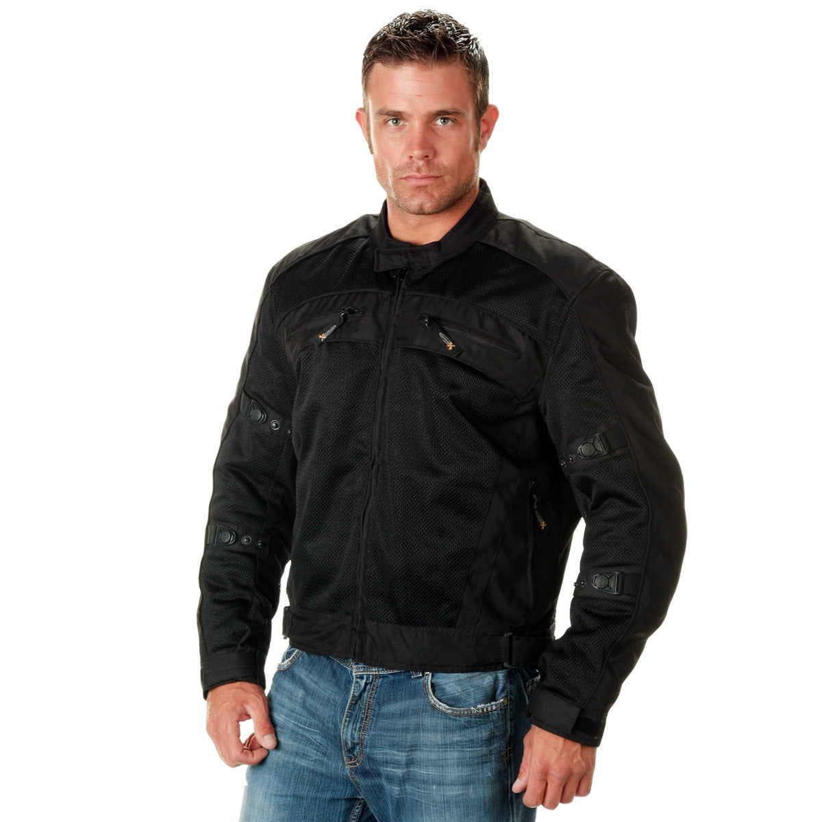 Xelement CF380 'Devious' Men's Black Mesh Jacket with X-Armor CE