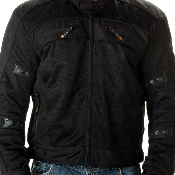 Xelement CF380 Men's 'Devious' Black Mesh Jacket with CE X-Armor Protection