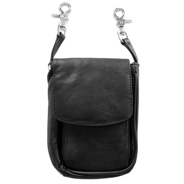 Hot Leathers CPL5012 Black Ladies 3 Pocket Clip Pouch with Strap