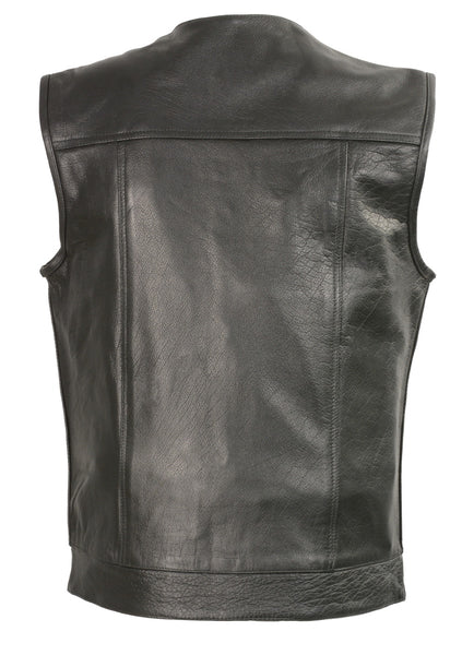 Club Vest CVM3721 Men's Black Collarless Leather Vest with Gun Pocket