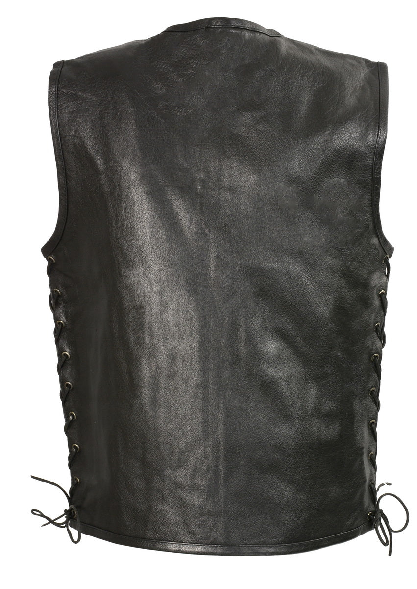 Club Vest CVM3741 Men's Black Zipper Front Side Lace Leather Vest with