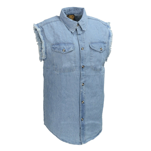 Milwaukee Leather DM1001 Men's Blue Lightweight Sleeveless Denim Shirt