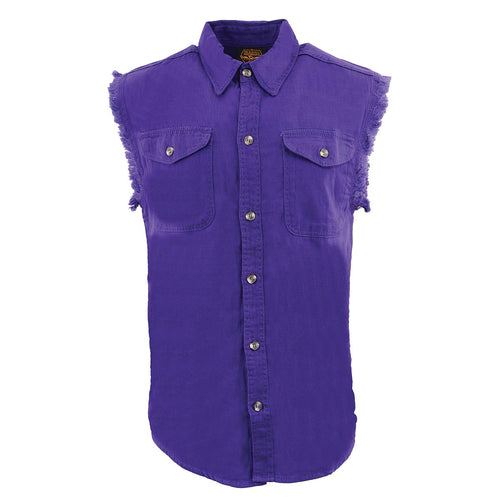 Milwaukee Leather DM1006 Men's Purple Lightweight Sleeveless Denim Shirt