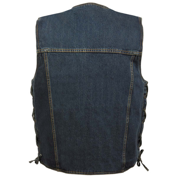 Milwaukee Performance DM1360 Men's Blue Side Lace Denim Vest with Chest Pockets