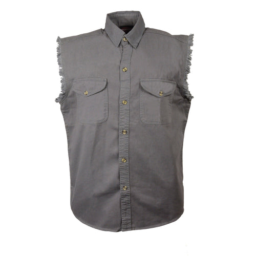 Milwaukee Leather DM4004 Men's Gray Lightweight Sleeveless Denim Shirt