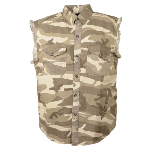 Milwaukee Leather DM4009 Men's Sand Camo Lightweight Sleeveless Denim Shirt