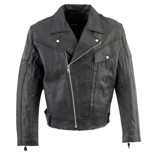 Genuine Leather EL1055 Men's Black Classic Vented 'Braided' Moto Jacket with Utility Pocket