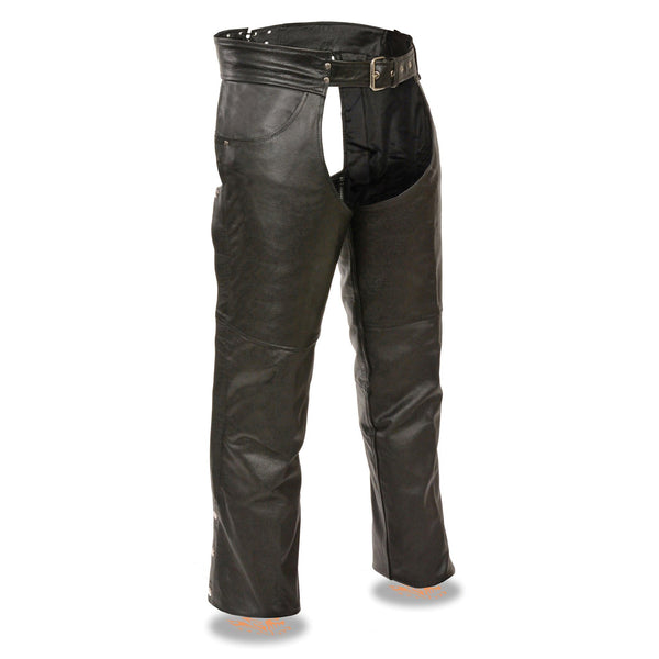 Event Leather EL1101 Men's Black Leather Classic Chaps with Jean Pockets