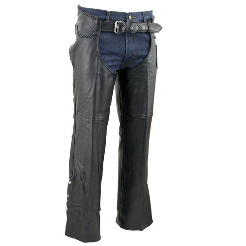 Event Leather EL1117BBO Men's Black Classic 'Braided' Leather Chaps