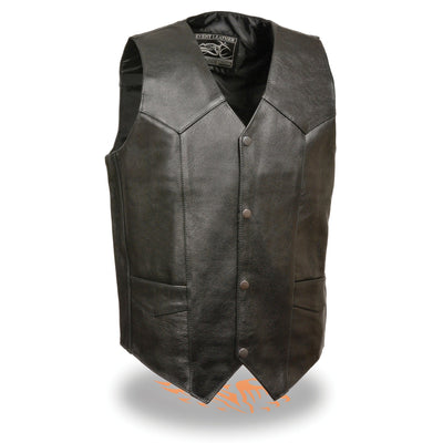Event Leather EL1310GO Men's Black Leather Classic Snap Button Biker Vest
