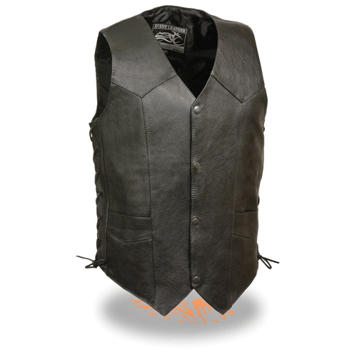 Event Leather EL1315GO Men's Black Leather Classic Side Lace Biker Vest