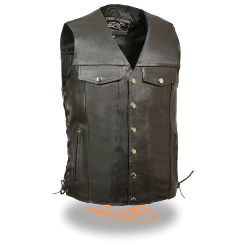 Event Leather EL5360 Men's Black Leather Vest with Denim Style Pockets and Side Lace