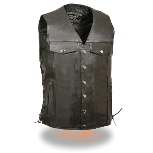 Event Leather EL5360TALL Men's Side Lace Vest with Denim Style Pockets Tall Sizes