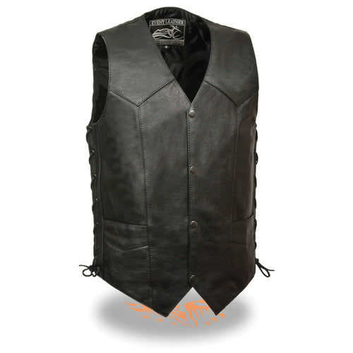 Event Leather EL5397 Men's Black Leather Vest with Gun Pocket and Side Laces