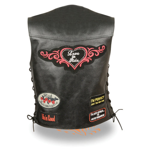 Event Leather ELL4900 'Love to Ride' Ladies Black Leather Vests with Side Laces and Patch Embroidery