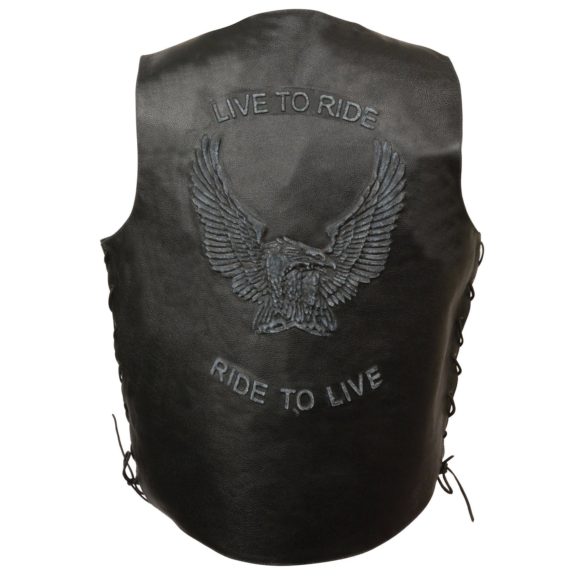 Event Leather ELM3900 'Live to Ride' Men's Black Leather Vest with