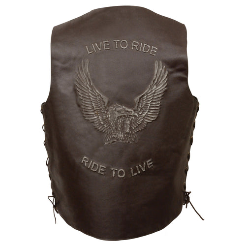 Event Leather ELM3900 'Live to Ride' Men's Brown Leather Vest with Side Lace and Flying Eagle Emboss