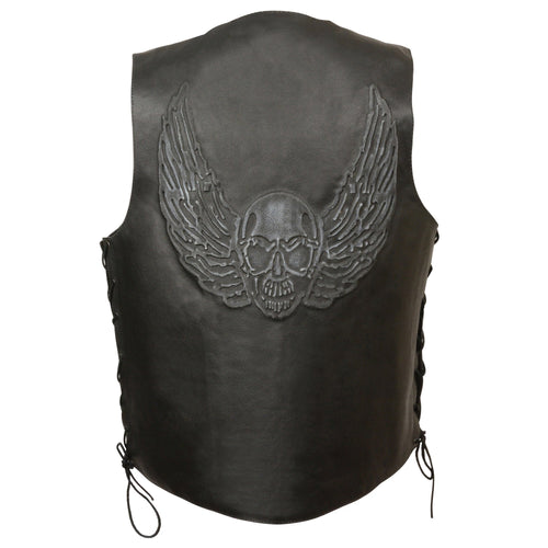 Event Leather ELM3905 'Mayhem' Men's Black Leather Side Lace Vest with Winged Skull Emboss