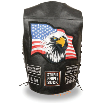 Event Leather ELM3925 Men's 'Eagle and Flag Pre-Patched' Black Leather