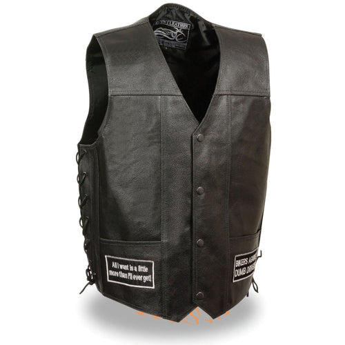 Event Leather ELM3925 Men's 'Eagle and Flag Pre-Patched' Black Leather Side Lace Vest