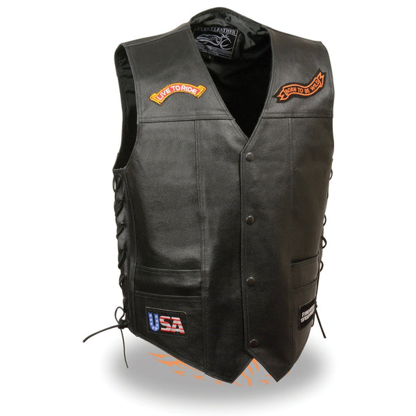 Event Leather ELM3930 Men's Black Leather Side Lace Live to Ride Pre-Patched Vest