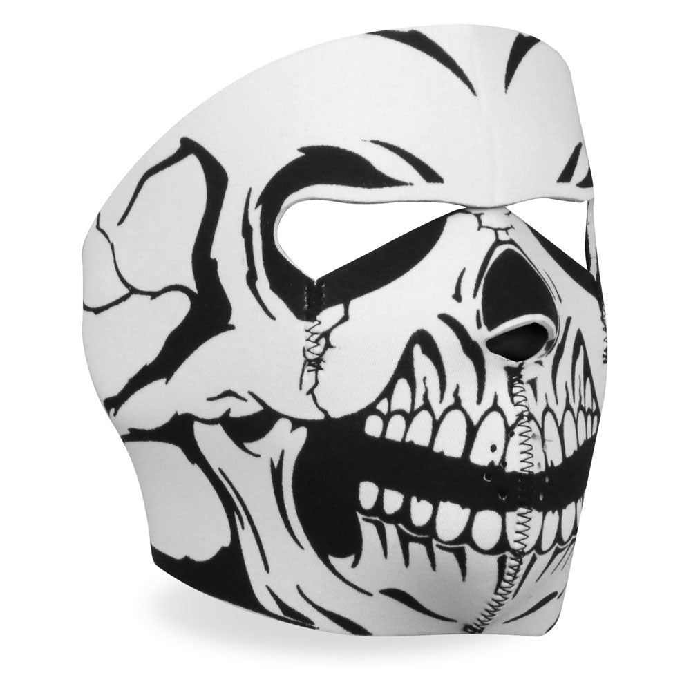 Hot Leathers FMA1012 Black and White Skull Neoprene Face Mask