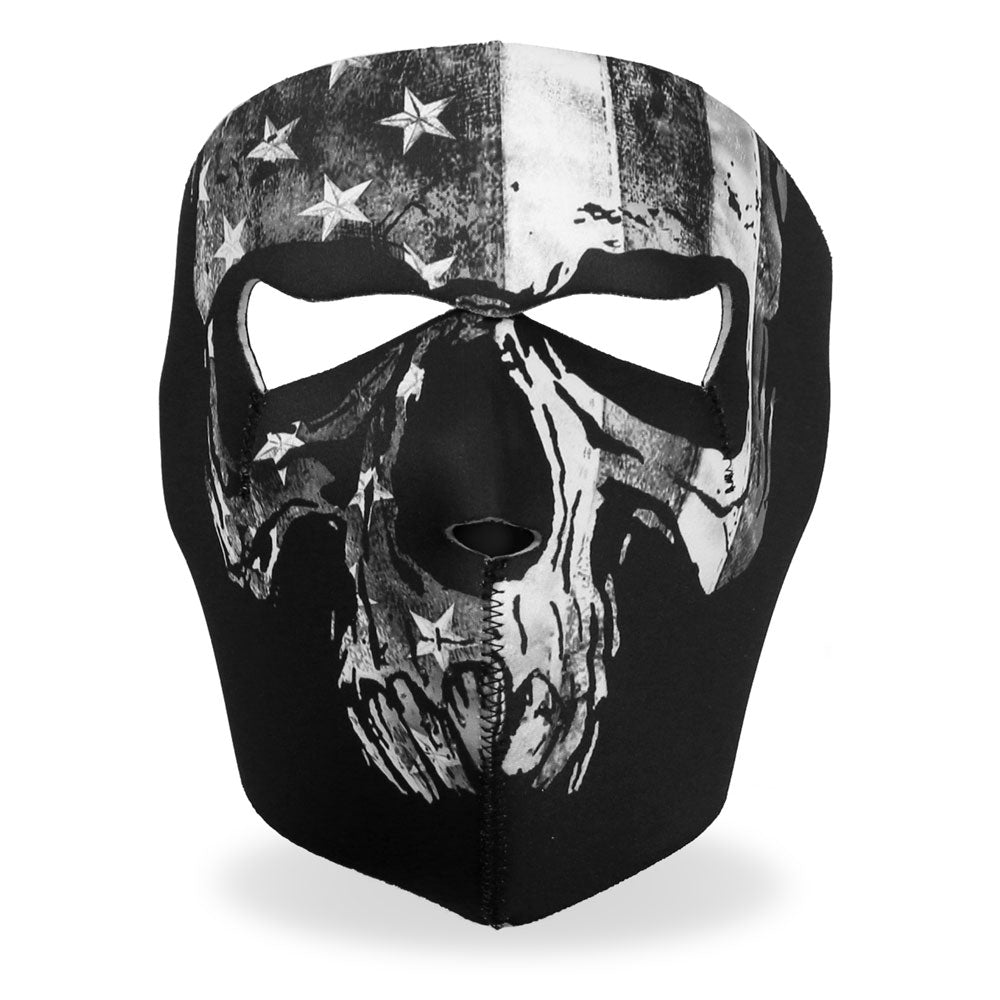 Hot Leathers FMA1034 Gray Skull Flag Face Mask
