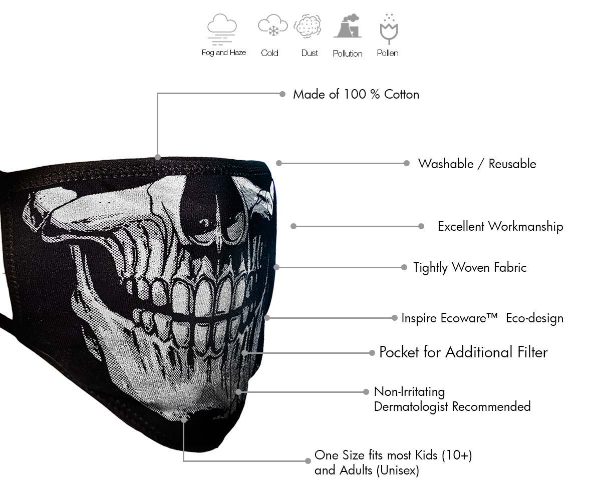 Milwaukee FMD1013 Men's 'Skull Face' 100 % Cotton Protective Face Mask