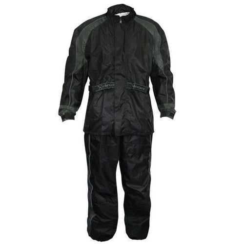 Xelement RN4727 Men's Black Two-Piece Armored Motorcycle Rain Suit